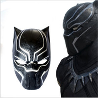 Wholesale event cosplay online - fast free shiping New Black Panther Mask Movie Fantastic Four Cosplay Men s plastic Party Mask for Carnaval Purim Halloween party event