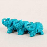 Wholesale Elephant Crafts - DingSheng Natural Crystal Quartz Stone amethyst Elephant Figurine Carving Stone Animal Longevity Turquoise Healing Reiki Stones Craft
