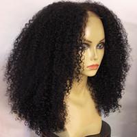 siyah kıvırcık saç toptan satış-Siyah Kadınlar Için İnsan Saç Peruk Perulu Afro Kinky Kıvırcık Dantel Ön Peruk Bebek Saç Ile