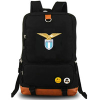Wholesale team soccer bags - Societa Sportiva Lazio SpA club backpack Football team school bag Fans badge daypack Soccer schoolbag Outdoor rucksack Sport day pack