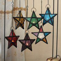 Wholesale Hanging Votive - Stunning Star Glass Votive Tea Light Candle Holder Hanging Lighting Lantern Wedding Birthday Party Home Garden Decoration