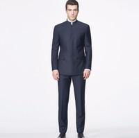 ingrosso moda uomo cinese s-Tailor Made Men Suits Blazer Chinese Mandarin Collar Fashion Abiti High Custom Made giacca + pantaloni
