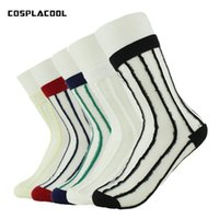 Wholesale Transparent Glass Socks - [COSPLACOOL] 5 pairs of ultra-thin transparent socks glass silk women's sweet stripes   point color socks