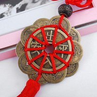 Wholesale lucky coin charms - 2018 Red Chinese knot FENG SHUI Set Of 10 Lucky Charm Ancient I CHING Coins Prosperity Protection Good Fortune Home Car Decor