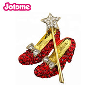 Wholesale wedding shoe brooches for sale - Group buy Red Shoes rhinestone Red Ruby Slippers Wizard Of Oz Shoe brooch