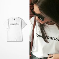 Wholesale Korean Street Fashion - Net Red Simple Hip Hop Korean Ins T-shirt Men Skateboard High Street Retro I Love Your Love Print Tshirts Male Tee Shirt Homme