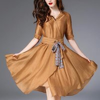 Wholesale linen clothing for women - 2018 New Spring Linen Dress For Women Top Quality Clothing Female Fit and Flare Dress Lady Elegant Brand Dress Slash Outerwear