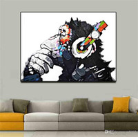 Wholesale simple drawings for sale - Simple Chimpanzee Monkey Abstract Oil Painting No Frame Living Room Study Decorate Spray Canvas Paintings Drawing Core Art pg4 gg