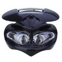 Wholesale dual motorcycle headlight - Motorcycle Dual Headlight Fairing Head Lamp High   Low Beam for F-Eagle Apollo DC 12V 18W Applicable to Universal Motorcycles
