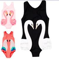 maillots de bain dessins animés achat en gros de-2018 INS bébé filles Flamingo One-Piece Maillot de bain enfants dessin animé cygne Swimwear Bikini avec bonnet de bain C1880
