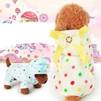 Wholesale Velvet Puppy - Coral Velvet Dog Pajamas Colorful Round Dot Pattern Pet Clothes Comfortable Winter Keep Warm Puppy Bedgown Cute 12tt B