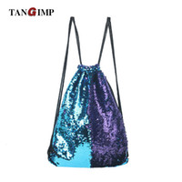 Wholesale Bronze Bling - TANGIMP Mermaid Sequin Backpacks Glittering Shoulder Bling Bags Reversible Glitter Drawstring Backpacks Women Beach PE Bags
