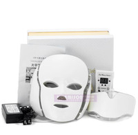 Wholesale firming masks - PTD Photon LED Face and Neck Mask 7 Color LED Treatment Skin Whitening Firming Facial Beauty Mask Electric Anti-Aging Mask A575