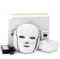 traitement photonique de la peau achat en gros de-PTD Photon Masque pour le visage et le cou à 7 couleurs Traitement par LED de la peau Blanchiment raffermissant Masque facial pour la beauté Masque électrique anti-âge A575