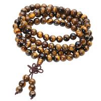 tibetische goldhalskette großhandel-108 tibetische buddhistische Mala natürliche Tigerauge Edelstein Perlen Halskette mit doppeltem Verwendungszweck Armband gewickelt Holz Gebet für Meditation