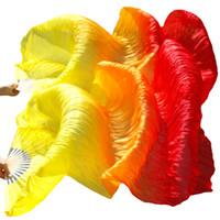 ingrosso costole di bambù-fan velo Gradient Color 100% Natural Silk Bamboo Ribs Ventilatori fatti a mano Ventaglio a velo lungo per accessori di danza del ventre Giallo + arancio + rosso 3 colori