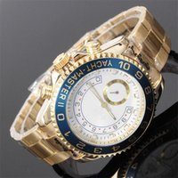 Wholesale digital big dial watch online - relogio masculino mm mens watches top brand luxury Designer automatic White dial full gold stainless steel male clock big watch for men