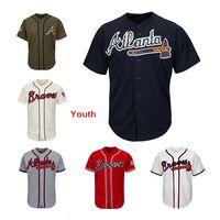 blanco rojo blanco azul jerseys al por mayor-Youth Kids Child Braves Baseball Team Jersey Jerseys en blanco Sin nombre No Número Blanco Azul marino Crema Rojo Gris Gris Verde Saludo al servicio