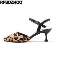 Wholesale leopard kitten heels - Slingback Ankle Strap Sandals Medium Heels Plus Size Glitter High Shoes Lady 12 44 Kitten Leopard Print Pumps Pointed Horsehair
