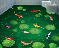 ingrosso progettista della cucina carta da parati-carta da parati home decor designer Koi piacevole verde fresco 3D umore bagno camera da letto pavimento 3d carta da parati per cucina