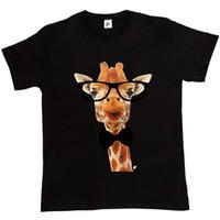 uzun tişört zürafa toptan satış-Uzun Boyun Zürafa Hipster Gözlük Takan Papyon Erkek T-shirt Serin Rahat Gurur T Gömlek Erkekler Unisex Yeni Moda Tshirt Gevşek