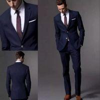 smokin desenleri toptan satış-2019 Yeni Örgün Smokin Takımlar Erkekler Wedding Suit Slim Fit İş Damat Takım Elbise Düğün Men (Ceket + Pantolon) Coat Pant Tasarımı İçin smokin Takımları