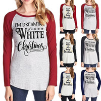Wholesale wholesale plain clothing online - Christmas Letter Printed Plain T Shirt Styles Women Elastic Basic T shirts Casual Tops Long Sleeve T shirt Home Clothing OOA5721