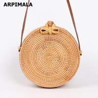 Wholesale woven handbags summer - ARPIMALA 2018 Round Straw Bags Women Summer Rattan Bag Handmade Woven Beach Cross Body Bag Circle Bohemia Handbag Bali
