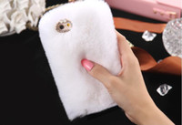 Wholesale Rabbit Fur Iphone Case - Free DHL Rabbit Hair Case Bling Diamond Diamond Fluffy Animal Fur Cover For iPhone 6 6plus 7 Plus 8