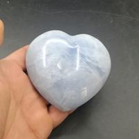 blue stone decorations großhandel-Celestite Herz Stein Lapislazuli Natürlichen Kristall Mineral Poliert Lazurit Blau Reiki Drachen Ornament Für Hauptdekoration Handwerk