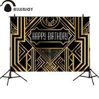 великолепные фото оптовых-Allenjoy фон Великий Гэтсби день рождения взрослые дети партия черный золотой баннер фотостудия baby shower фотоколл