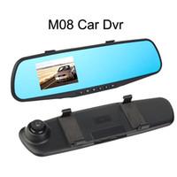 зеркальная двойная камера оптовых-2.8-дюймовый M08 автомобильный видеорегистратор камера видеорегистратор 720p зеркало заднего вида тире камерой 120degree угол автомобиля двойной объектив вид сзади автомобиля