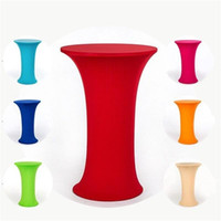 Wholesale cocktail table covers online - Hotel Wedding Ceremony Elastic Cover Round Table Cloth Banquet Activity Elastic Force Spandex Cocktail Bar Sleeve Pure Color py5 ff