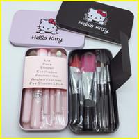 Wholesale hello set - New iron box cartoon Makeup Brush Set 7pcs hello Kitty lovely Makeup Brushes Eyeshadow Eyeliner Powder Foundation Blush Brush