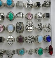 кольцо из черепа оптовых-Мода женщины преувеличение большой драгоценный камень смолы Античное серебро мультфильм череп кольцо бирюзовый камень кольцо смешанные многие стили