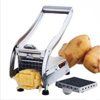 ingrosso tagliatrice a fetta-Fry cutter francese taglierina della patata in acciaio inox Chip di patate strumento gadget fetta di cetriolo taglio macchina utensili chopper all'ingrosso