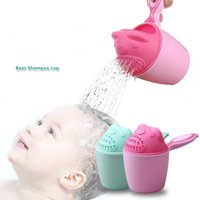 Wholesale wash shampoo - 2 Colors Cartoon Baby Bath Caps Baby Shampoo Cup Children Bathing Bailer Baby Shower Infant Shampoo Cup Children Washing Tools CCA9870 20pcs