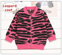casaco de laranja inverno meninas venda por atacado-INS Leopardo De Bebê De malha Casaco Infantil Menina Menino Outono Casaco de inverno Criança Subiu Laranja Outwear 5 tamanho