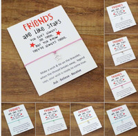Wholesale friends day cards - Wish Bracelet With Gift Card Newest Friends are like stars Charm Bracelets Bangles for Women men Friendship Statement Jewelry Greeting Cards