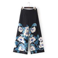 элегантные широкие штаны для ног оптовых-2018 New Women  Vintage Elegant Flower Print Loose Wide leg pants Long Trousers Leisure Zipper  Business Pants P006