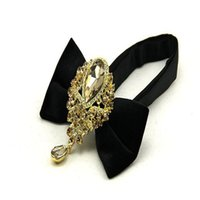 Wholesale clip bow ties wholesale - Diamond Insert Gemstone Man Velvet Bow Tie New Tide Collar Isignina Neckline Accessories Attend Dinner Party Grand Occasion 28zy cc