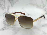 Wholesale popular designs - popular classic men outdoor sunglasses attitude gold square design frame uv400 protection eyewear vintage summer style