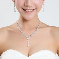Wholesale New Trendy Earrings - Shining Elegant Wedding Bridal Jewelry Prom Silver plated Rhinestone Crystal Birdal Jewelry New Bling necklace and earring set 15049