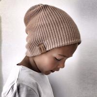 Wholesale crochet yellow pink hat resale online - Kids Girl Boy Winter Hat Baby Soft Warm Beanie Cap Crochet Elasticity Knit Hats Children Casual Ear Warmer Cap