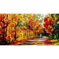 hermosas pinturas paisaje lienzo al por mayor-Arte de la pared moderno hermosas pinturas Leonid Afremov otoño mediodía Paisajes pintados a mano sobre lienzo