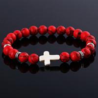 cruz pulseira vermelha venda por atacado-Atacado Unisex Natural Red Stone Cross Homens Pulseira Mão Trabalho Vermelho Onyx Vulcano Fosco Frisado Pulseiras Pulseiras