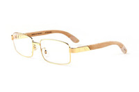 pc okuma lensleri toptan satış-Fransa Tasarım Buffalo Horn Ahşap Bacaklar Gözlük Alaşım Metal Çerçeveler Ile Şeffaf Lens Moda Marka Lüks Optik Çerçeveleri Gözlük Okuma Gözlük