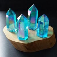 ingrosso blu guarisce-WT-G126 Aqua Aura Bacchetta in quarzo cristallo, Aqua Aura Bacchetta magica, punto cristallo, Guarigione quarzo blu