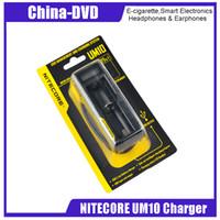 nitecore intelligentes ladegerät großhandel-Original NiteCore UM10 Akkuladegerät Intelligent Single Charger für 18650 14500 10440 16340 Akku VS Nitecore I4 E-Zigarette Ladegeräte