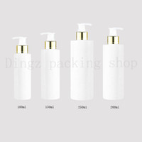 bouteilles à pompe pour shampooing achat en gros de-30pcs 100/150/200/250 ml voyage blanc lotion cosmétique pompe bouteilles en plastique, vide cosmétique emballage collier d'or pompe, pompe à bouteille de shampoing